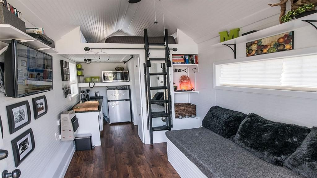 Tiny House Interior on extra fold out beds and futons